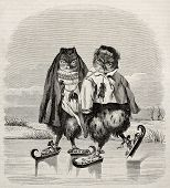 Ice skaters owls fanciful old illustration. After old Dutch print, published on Magasin Pittoresque,