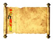 Scroll with Egyptian goddess Isis image. Isolated over white