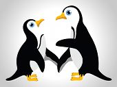 Vector illustration of  couple of penguins  on white isolated background for valentine's day and  ot