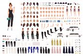 Elegant Young Woman Animation Set Or Constructor Kit. Collection Of Body Parts, Gestures, Postures,  poster