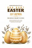 Egg Hunt Easter Poster Or Banner Template. Holiday Flyer Layout With Place For Text. Vector Illustra poster