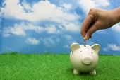 pic of piggy_bank  - Coin bank sitting on grass with hand putting in a coin - JPG