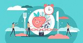 Fasting Vector Illustration. Flat Tiny Metabolism Diet Time Person Concept. Modern And Healthy Metho poster