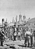 Accession of Volyn and Podolia to Russia. Engraving by Shyubler from picture by painter Steyn . Published in magazine