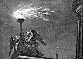 O fogo de Pascal. Gravura por Multanovsky de imagens pelo pintor Stein. Publicado na revista