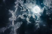 Landscape Of Sky With Dark Clouds At Nighttime. Beautiful Full Moon Behind Cloudy With Moonlight, Se poster