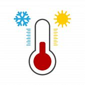 Thermometer Icon Black With Snowflake And Sun. Thermometer Vector Icon. Thermometer Icon Isolated On poster