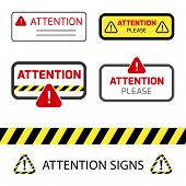 Danger Sign, Warning Sign, Attention Signs Collection. Danger Icon, Warning Icon, Attention Icon. poster
