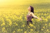 Happy Beautiful Woman In Free Summer Love Of Youth Wellbeing. Attractive Young Beauty Girl Enjoying  poster