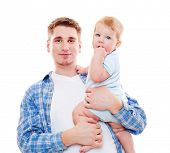 portrait of smiley father and baby. isolated on white background