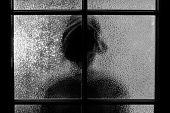 Dark Silhouette Of Girl Behind Glass. Locked Alone In Room Behind Door On Halloween In Grayscale. Ni poster