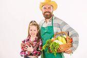 Family Farm Organic Vegetables. Man Bearded Rustic Farmer With Kid. Farmers Family Homegrown Harvest poster