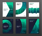 Brochure Cover Design Layout Set For Business And Construction. Abstract Geometry Whith Colored City poster
