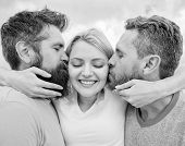 She Likes Male Attention. Girl Hugs With Two Guys. Love Triangle. Ultimate Guide Avoiding Friend Zon poster