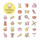 Set Of Pixel-perfect Colorful Kitchen Icons, Isolated On The White Background. With Lettering Of Coo poster