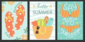 Set Of 3 Posters Of Summertime. Vector Design Concept For Summer. Sea Vacation. poster
