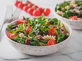 Warm Salad With Tuna, Arugula, Tomatoes, Red Bean, Pasta. Idea And Recipe For Healthy Lunch Or Dinne poster