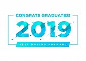 Congratulations Graduates Vector Logo. Graduation Background Template With Inspirational Quote. Gree poster