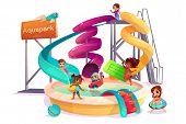 Multiethnic Boys And Girls Sliding Form Water Slide, Swimming With Inflatable Ring, Playing And Havi poster