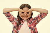 Girl Holding Fingers Near Eyes Like Glasses Mask Superhero Or Owl. Play Game With Mask Superhero. Ch poster