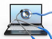 Servicio de reparación del ordenador portátil. Portátil con estetoscopio. 3D