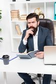 Business Literature. Boss Read Book. Reading Authority Business Book. Man Bearded Hipster Boss Sit A poster