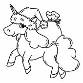 Christmas Unicorn With A Santa Hat And A Bag Of Gifts. Cute Doodle Art Of Magic Creature. Black And  poster