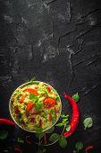 Bowl Guacamole Tomato Chilli Pepper Lime Onion Garlic Dill And Oregano poster