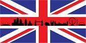 London skyline silhouette isolated on union jack flag