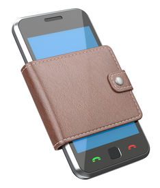 picture of mobile-phone  - 3D concept with mobile phone and wallet - JPG