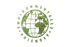 image of environmentally friendly  - Green plant globe surrounded by Environmentally Friendly text superimposed on green plant  - JPG