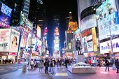NEW YORK CITY, NY - JAN 30: Times Square is featured with Broadway Theaters and LED signs as a symbo