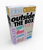 image of thinking outside box  - The words Outside the Box on a product package to symbolize a new idea - JPG