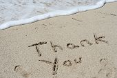 Concept or conceptual Thanksgiving day holiday text handwritten in sand on an exotic beach as metaph