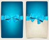 Blank linen backgrounds with blue bow. Vector eps10.