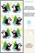 Постер, плакат: Катание на коньках пингвины матч зеркальные изображения картину Риддл