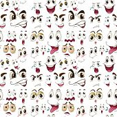pic of sorrow  - illustration of various face expressions on a white background - JPG