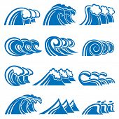 illustration collection of sea waves