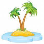 Cartoon Tropical Island with Coconut Palm. Isolated Vector Illustration