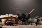 stock photo of witches cauldron  - Scary halloween laboratory - JPG