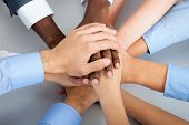 picture of gesture  - International  business team showing unity with their hands together - JPG