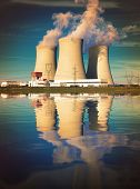 stock photo of nuclear disaster  - Nuclear power plant on the coast - JPG