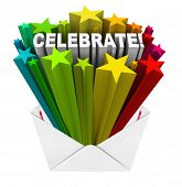 The word Celebrate opening out of an invitation envelope surrounded by colorful stars to symbolize excitement and anticipation for a party or other gathering or special occasion