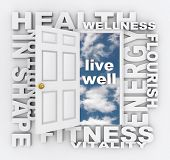 Health care words around a door opening to the words Live Well -- words include energy, flourish, co