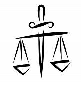 image of libra  - libra of justice symbol in simple black lines - JPG