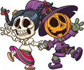 Dia de muertos and Halloween characters holding hands. Vector clip art illustration with simple grad