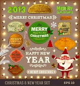 Set of vector Christmas ribbons, vintage new year labels. Elements for Xmas design: santa, balls, sw