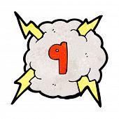 cartoon lightning cloud with number nine