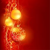 Border with red and golden Christmas balls hanging over a red, golden wavy pattern with stars and sn