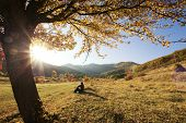stock photo of stroll  - Colorful autumn tree at sunset with woman sitting and contemplating nature - JPG